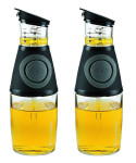 2 Stück Essigspender/Ölspender Dosierer 250 ml, aus Glas, inklusive Dosierpumpe aus Kunststoff