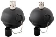 2 Taumelfackel, Öllampe in schwarz, Ø 15 cm und 20 cm