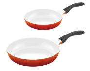 2er Pfannenset culinario Bratpfannen, Ø 24 und 28 cm, rot, antihaft und induktionsgeeignet