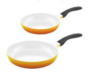2er Pfannenset culinario Bratpfannen, Ø 24 und 28 cm, gelb, antihaft und induktionsgeeignet