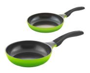 2er Pfannenset culinario Bratpfannen, Ø 24 und 28 cm, grün, antihaft und induktionsgeeignet