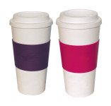 2er Set culinario Coffee to go Kaffeebecher, 470 ml, lila und pink
