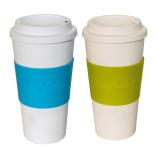 2er Set culinario Coffee to go Kaffeebecher, 470 ml, blau und grün