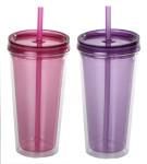 2er Set culinario Trinkbecher Ice Mug, Thermobecher mit 500 ml Inhalt, lila und pink