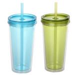 2er Set culinario Trinkbecher Ice Mug, Thermobecher mit 500 ml Inhalt, blau und grün