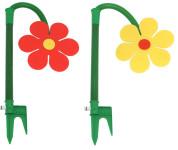 2er Set FloraSun Funflower Sprinklerblume aus Kunststoff, in gelb und rot
