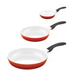 3er Set culinario Bratpfanne, Ø 20, 24 und 28 cm, rot, antihaft und induktionsgeeignet