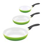 3er Set culinario Bratpfanne, Ø 20, 24 und 28 cm, grün, antihaft und induktionsgeeignet