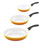 3er Set culinario Bratpfannen, Ø 20, 24 und 28 cm, gelb, antihaft und induktionsgeeignet