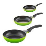 3er Set culinario Bratpfannen, Ø 20, 24 und 28 cm, grün, antihaft und induktionsgeeignet