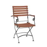 4 Stück FloraSun® Klappsessel Borkum mit Armlehnen, 100% FSC-zertifiziertem Akazienholz/Stahlgestell, Gartenstuhl Sitzhöhe 43cm, Belastbarkeit 110kg