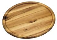 4 Stück Kesper Pizzateller aus Akazienholz, Ø 32 x 2 cm, mit Saftrinne, FSC-zertifiziert, Brotzeitplatte, Brotzeitbrett, Servierplatte aus Holz