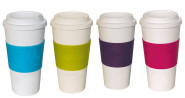 4er Set culinario Coffee to go Kaffeebecher, 470 ml, blau, grün, lila und pink