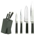4er Set culinario Damastmesser - Damaszener Schneidemesser, Soft-Touch-Griff, verschiedene Messer, inkl. Messerblock mit Borsten-Universaleinsatz
