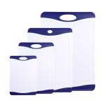 4er Set culinario Schneidebrett lido, 4 verschiedene Größen, in weiß mit blauem Rand