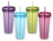 4er Set culinario Trinkbecher Ice Mug, Thermobecher mit 500 ml Inhalt, blau, grün, lila und pink