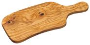 6 Stück Kesper Schneidebrett mit Griff, 39 x 16,5 x 1,6 cm, Servierbrett aus Olivenholz, Servier- und Brotzeitplatte in Naturoptik