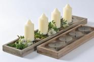 Adventsleuchter, Kerzenständer, Kerzenleuchterschale, Kerzenleuchter, für 4 Kerzen, Länge: ca. 53 cm