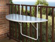 ALCO Balkonhängetisch mit Kunststoffplatte, 100 x 50 cm, weiß