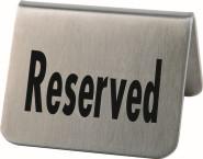 APS 2er Set Tischaufsteller, Tischschild ca. 5,5 cm x 5 cm, Höhe 3,5 cm Edelstahl mattiert Aufschrift Reserved schwere Ausführung