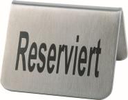 APS 2er Set Tischaufsteller, Tischschild ca. 5,5 cm x 5 cm, Höhe 3,5 cm Edelstahl mattiert Aufschrift Reserviert schwere Ausführung