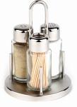 APS 3-tlg. Menage -Classic- ca. Durchmesser 10,5 cm, Höhe 16 cm 18/10 Edelstahlständer, rund Pfeffer - Salz - Zahnstocher Glasbehälter