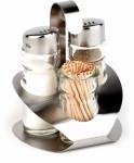 APS 3-tlg. Menage -Pro- ca. 9,2 x 8,5 cm, Höhe 11,5 cm Edelstahl, Pfeffer-,Salz-, Zahnstocher-Menage, Pfeffer-/Salz-Glasstreuer mit Edelstahldeckel