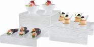 APS 3er Set Stufen-Display ca. 20 x 18/20/22 cm, Höhen 4/8/12 cm, Acrylglas mit Schieferstruktur, stapelbar