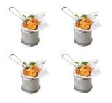 APS 4er Set Snack-Holder Servier-Frittierkorb aus Edelstahl, Ø 9 cm, Höhe 8,5 cm, Griff 9 cm