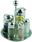APS 6-tlg. Menage drehbar ca. Durchmesser 16 cm, Höhe 20 cm Edelstahl Pfeffer- und Salz-Glasstreuer, Essig- und Öl-Glasbehälter