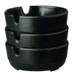 APS Aschenbecher - 3er Set ca. Durchmesser 7,8 cm, Höhe 3 cm Melamin schwarz stapelbar spülmaschinenfest