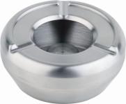 APS Aschenbecher ca. Durchmesser 10 cm Edelstahl, stapelbar, mit Windschutzdeckel im Farbkarton