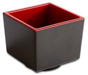 APS Bento Box -ASIA PLUS- aus Melamin 7,5 x 7,5 x 6,5 cm, innen: rot, glänzend, außen: schwarz, matt