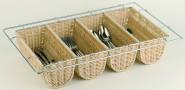 APS Besteckbehälter GN 1/1 -Büfett- 53 x 32,5 x 10 cm Poly-Rattan-Korb mit verchromtem Drahtgestell, dekorativ, wasserfest und hygienisch