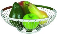 APS Brot- und Obstkorb oval ca. 28 x 21 cm 18/8 Edelstahl spülmaschinenfest, stapelbar ideal für Obst und Brötchen