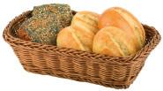 APS Brot- und Obstkorb rechteckig ca.31 x 21 cm, H 8 cm Poly-Rattan, braun unzerbrechlich, stapelbar abwaschbar
