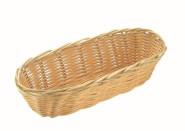 APS Brotkorb oval ca. 21 x 10 cm, H: 6 cm Poly-Rattankorb abwaschbar, unzerbrechlich ideal für Baguette-Brot