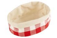 APS Brottasche aus Baumwolle, oval, 20 x 15 x 7 cm, in weiß/rot kariert