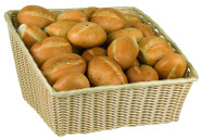 APS Büfett-Korb -Large- ca. 43 x 40 cm, Höhe vorn 17 cm - hinten 25 cm, Polyrattan-Korb, Polypropylen ideal für Brötchen, Brot, Baguette