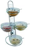 APS Büfett-Leiter, 3-stufig ca. 39 cm x 31 cm, Höhe 66 cm Metall, verchromt, 12-teilig 4 Glasschalen (Arcoroc) Durchmesser 23 cm