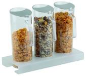 APS Cerealien-Bar 7-tlg. ca. 38 x 15,5 cm, Höhe 4 cm 1 Ständer, Plexiglas gefrostet 3 Cerealienkaraffen, 1,5 Liter 3 Frischhaltedeckel