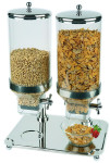 APS Cerealienspender -Classic- Duo ca. 35 x 50 cm, Höhe 68 cm 18/8 Edelstahl, Inh. 2x8 Liter Behälter herausnehmbar spülmaschinenfest