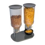 APS Cerealienspender -DUO- 24 x 37,5 cm, Höhe 49,5 cm, Ceraliendispenser für Frühstück/-Buffet, Deckel und Standfuss aus Melamin, in anthrazit