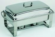 APS Chafing Dish -Caterer- 67 x 35 cm, Höhe 35 cm GN-Behälter 1/1, 9 Liter Edelstahl rostfrei Wasserbecken inkl. Vorrichtung für Heizplatte