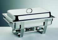 APS Chafing Dish -Chef- ! 61 x 31 cm GN-Behälter 1/1, 65mm, 9 Liter Edelstahl 2 Brenner Gestell mit Deckelhalterung langer Hohlgriff im Farbkarton