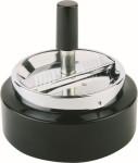 APS Drehascher -Klassiker- ca. Durchmesser 10,5 cm, Höhe 11 cm Metall verchromt / schwarz Deckel mit Drehmechanismus im Farbkarton
