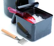 APS Eisbox 20 x 20 cm, H: 17 cm, 3,4 L Kunststoff, schwarz mit herausnehmbarem Tropf- einsatz, trennt Schmelzwasser und Eis