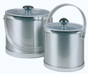 APS Eiseimer -Classic- Durchmesser 20 cm, Höhe 18 cm edler Kunststoffmantel in matt-metall Optik, 3 Liter mit hochglanzpoliertem Rand, inkl. Eiszange