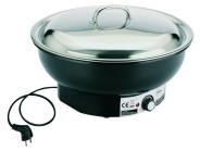 APS Elektro-Chafing Dish -Eco- ca. Durchmesser 36 cm, Höhe 25 cm Wasserbecken aus Kunststoff Edelstahl-Speisebehälter 6,8 Liter mit Glasdeckel