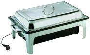 APS Elektro-Chafing Dish -Sunnex- ca. 63 x 36 cm, Höhe 29 cm Edelstahl GN-Behälter 1/1, 9 ltr elektrisch Wasserbehälter aus schwarzem Kunststoff